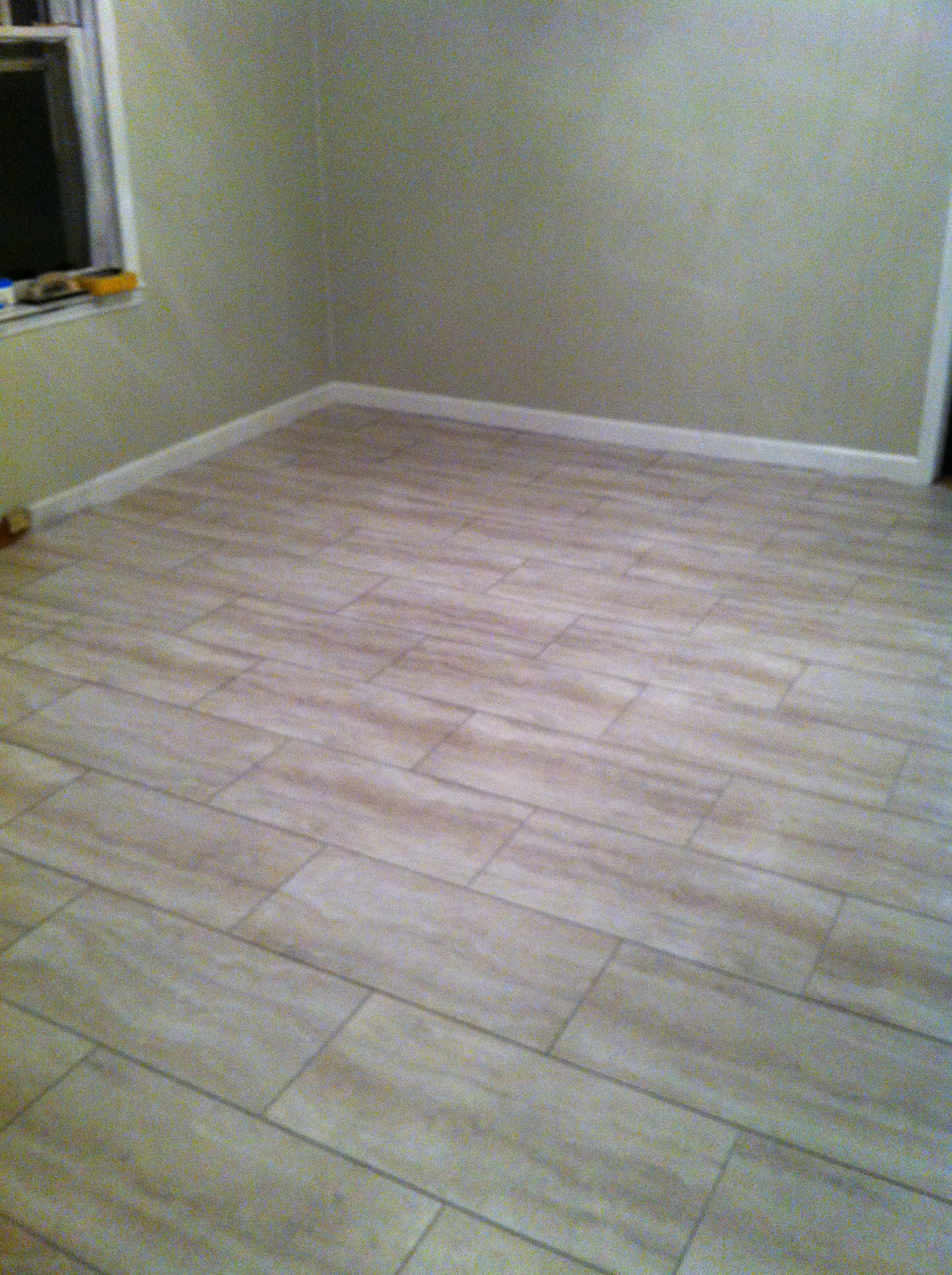 Groutable vinyl tile walkthecreativepath for Stick on linoleum tiles