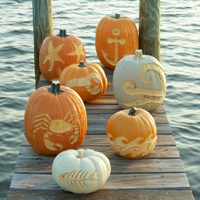 Carved pumpkins from Coastal Living!