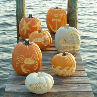 Carved pumpkins from Coastal Living!