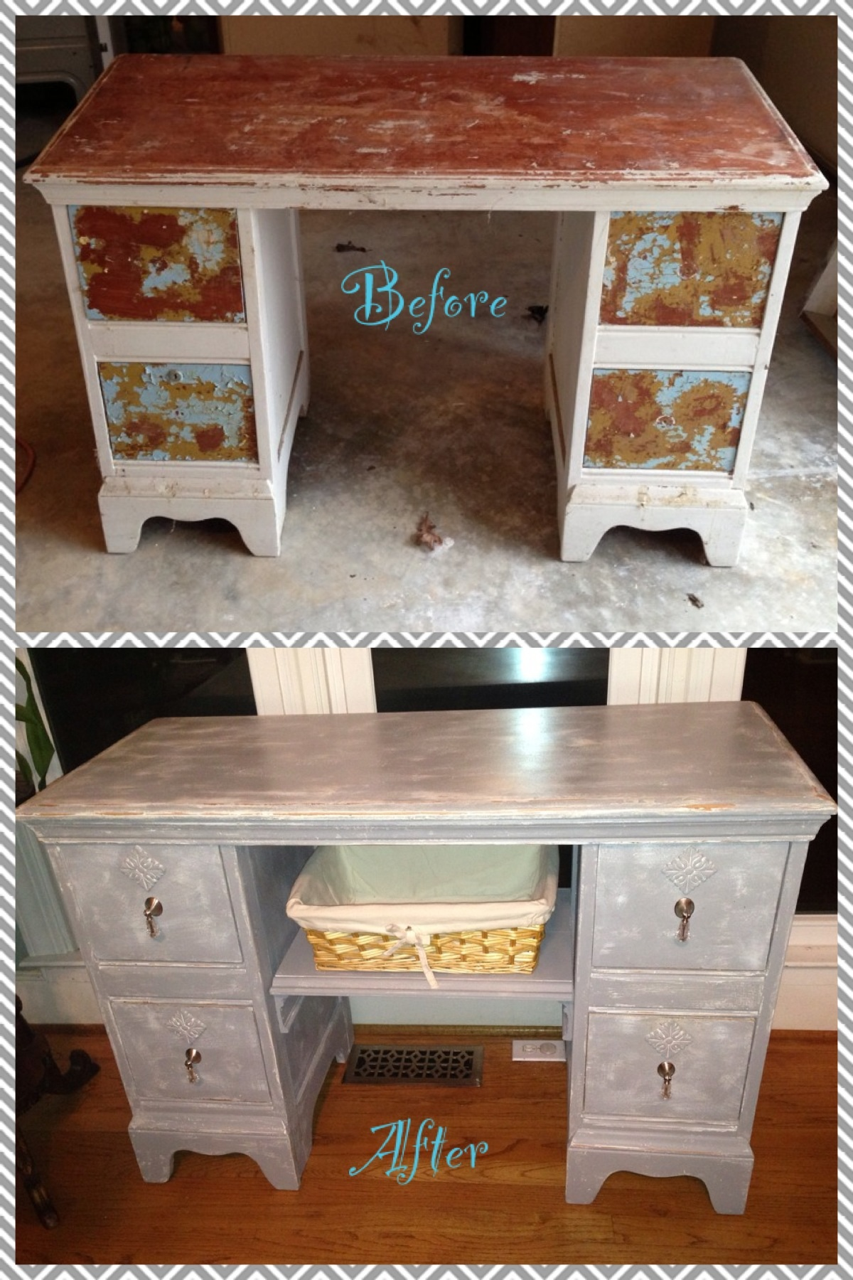 Refinished vanity made into a changing table